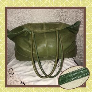 Banana Republic Olive Leather Tote USED CONDITION